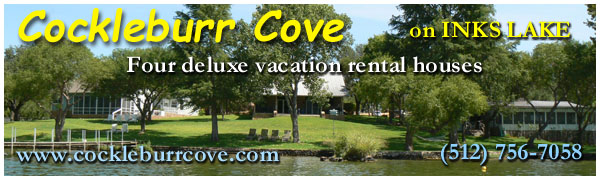 Cockleburr Cove on Inks Lake - Four deluxe vacation houses in Burnet, Texas
