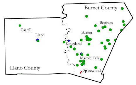 Historical Markers in Burnet County and Llano County Texas